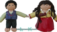 Salt dough, clay, dolls hanbok handmade