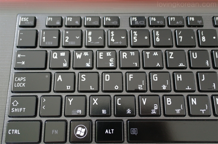 Keyboard with applied rub on Korean stickers