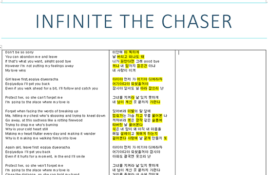 How to learn Korean vocabulary with Kpop ft. INFINITE The Chaser highlighting