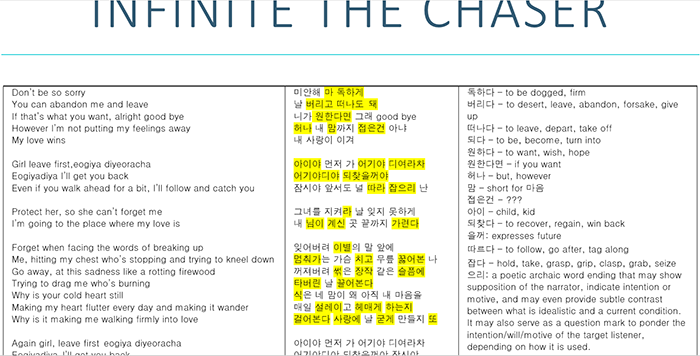 Kpop INFINITE The Chaser complete translation tutorial step by step