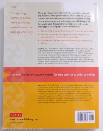 Elementary Korean second edition Tuttle Ross King JaeHoon Yeon back cover