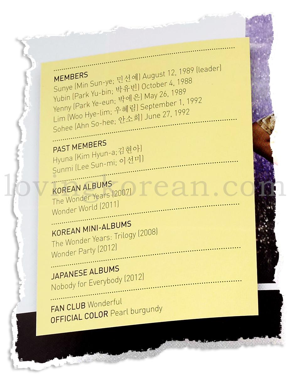 Wonder Girls profile members Sunye Yubin Yenny Lim Sohee Hyuna Sunmi