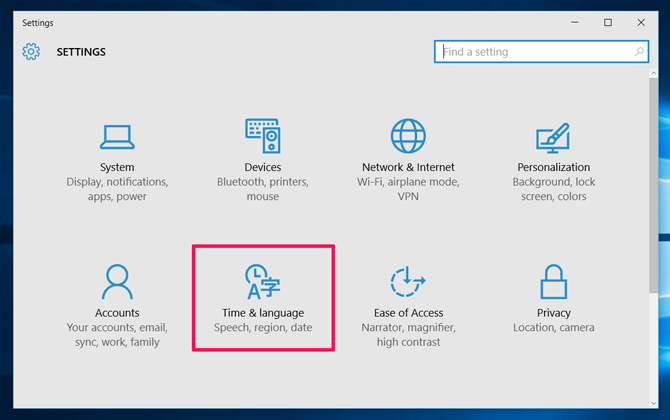 Windows 10 time language speech region date