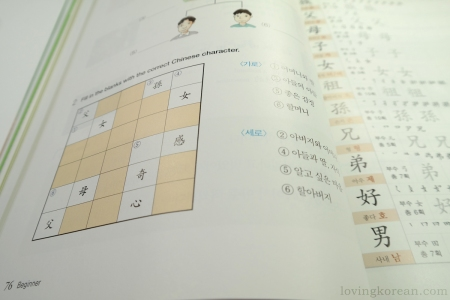 Chinese Characters for Learners of Korean exercises practice at the end of a lesson