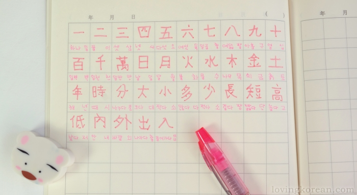 Korean Chinese characters Hanja written in Morning Glory Korean notebook pink Mach 3 pen